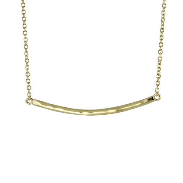 Gold-Dipped Hammered Bar Necklace