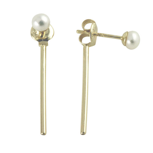 Sterling Silver Mini Pearl Bar Jacket Stud Earrings