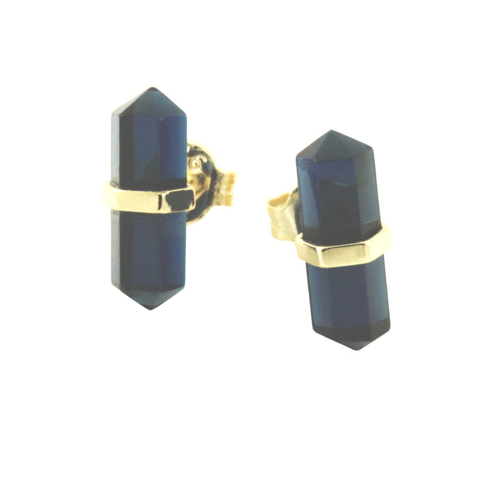 Blue Crystal Style Spike Earrings