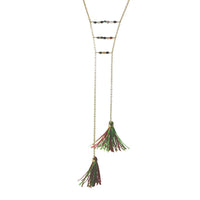 """Kiwi"" Gold-Dipped Tourmaline Tassel Lariat Necklace"