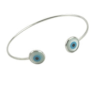 Sterling Silver Blue Eye Cuff Bracelet