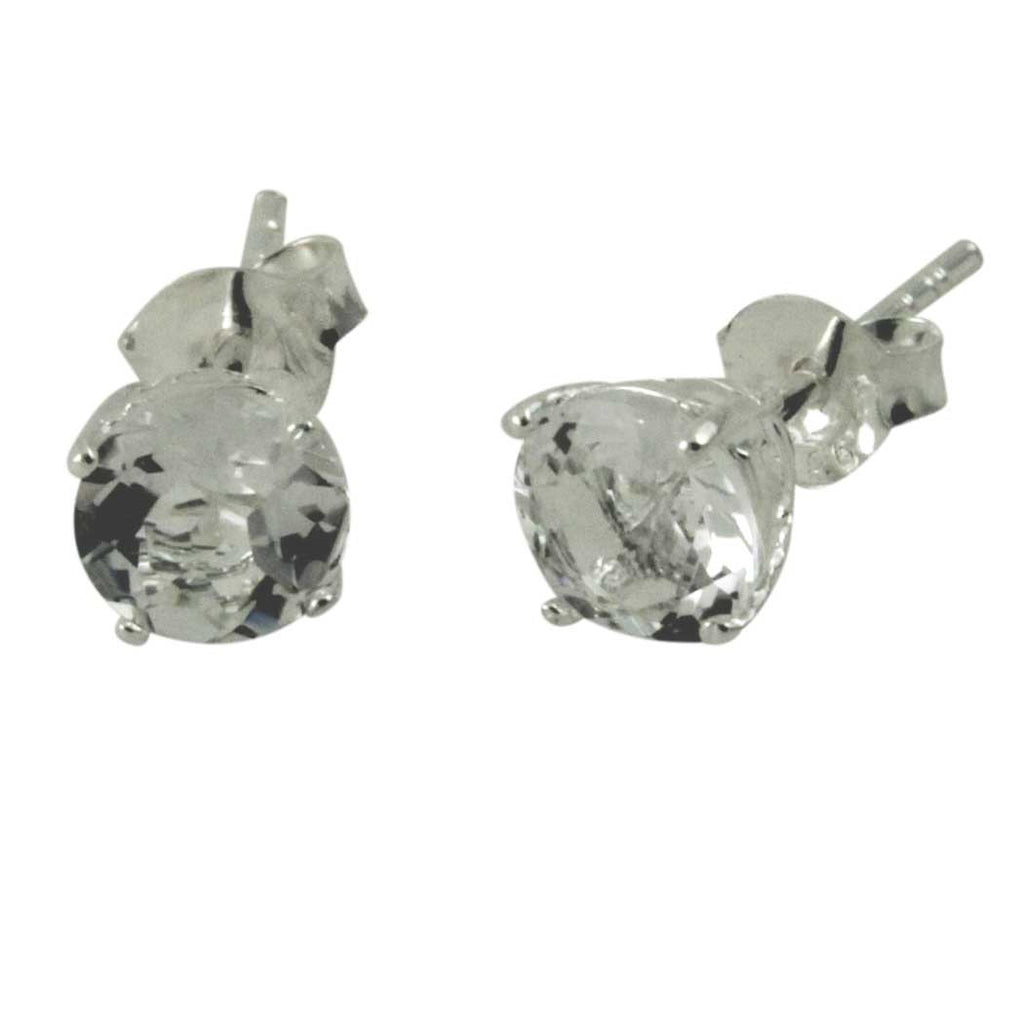 Sterling White Topaz Stud Earrings
