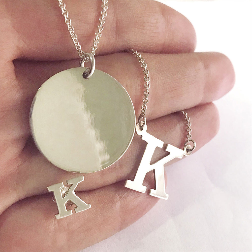 14kt Gold Mini Block Letter Initial NamePlate Necklace