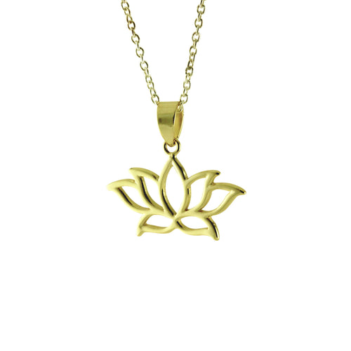 Silver Lotus Pendant Necklace