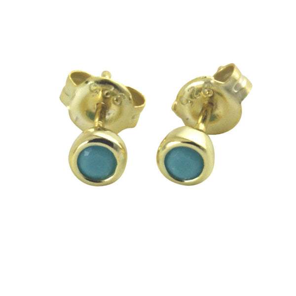 """Tiny Turkoise Dots"" Mini Blue Stud Earrings"