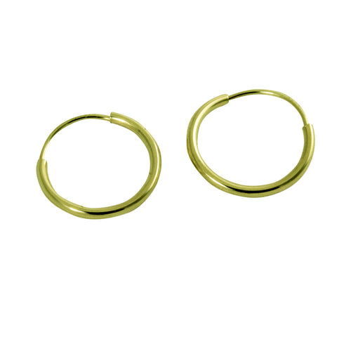 14k Mini Plain Sleeper Hoop Huggie Earrings