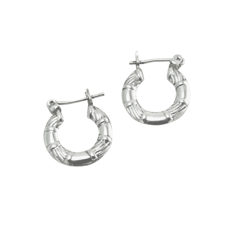 Sterling Silver Vintage Style Bamboo Small Hoop Earrings