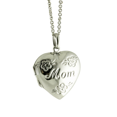 Sterling Mom Heart Locket Pendant Necklace