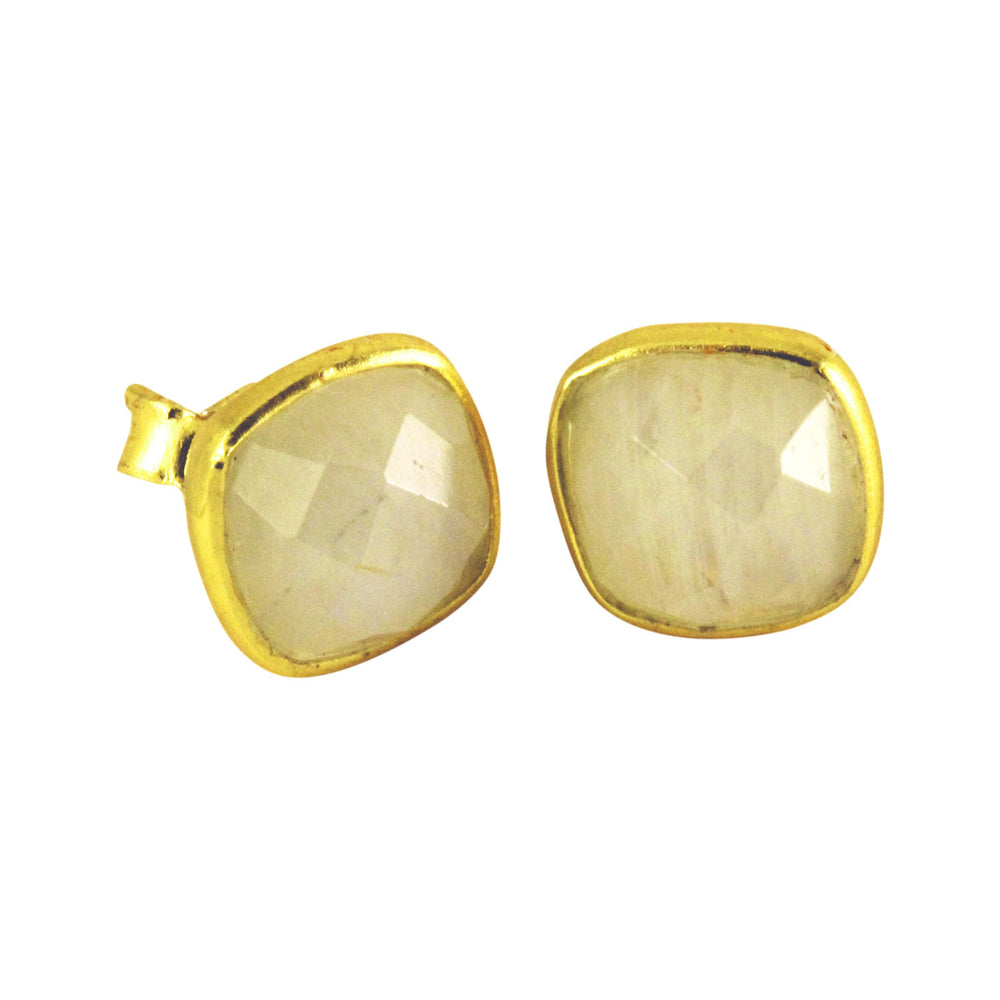 Moonstone Square Stud Earrings