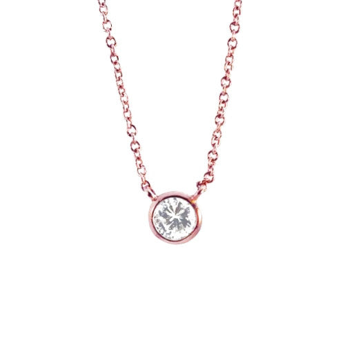 """Rosy Bubble"" Bezel CZ Solitaire Necklace 16 - 18 inch"