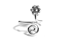 Daisy Flower Sterling Silver MiDi Cuff Ring Adjustable