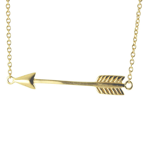 Gold-Dipped Horizontal Arrow Pendant Necklace 17 inch