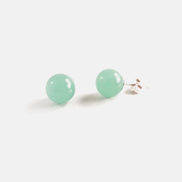 Sterling Silver Aventurine Bead Stud Earrings