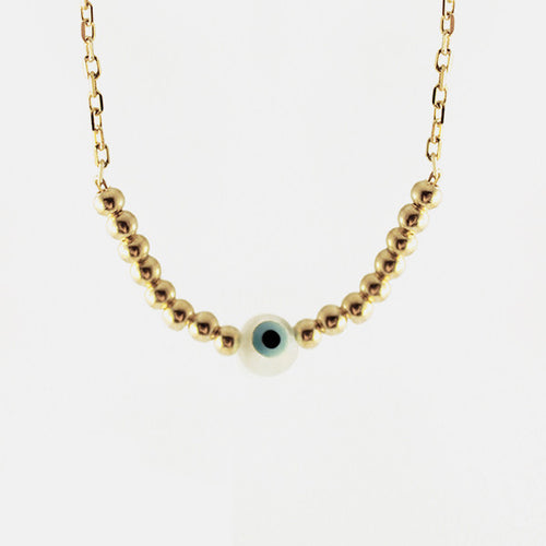 Gold-Dipped Beaded Blue Eye Necklace