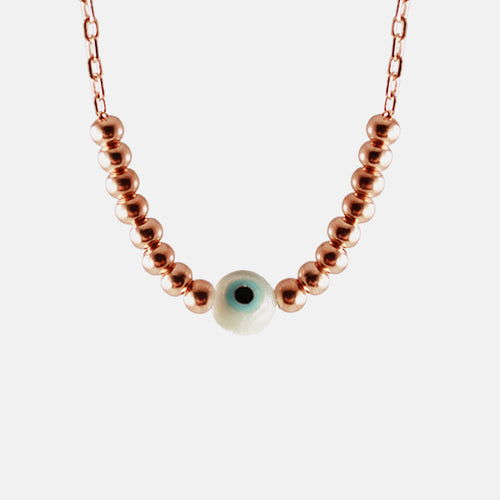 Rosy Beaded Blue Eye Necklace