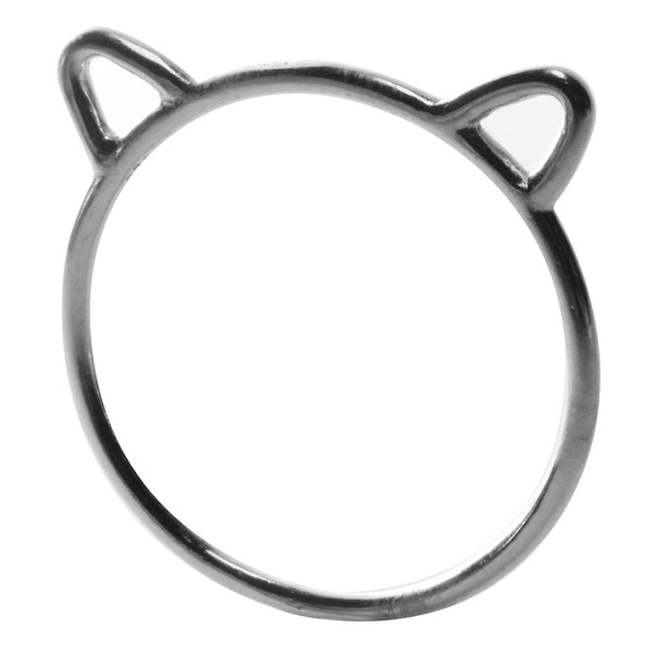 Sterling Silver Bear The Kitty Cat Midi Ring