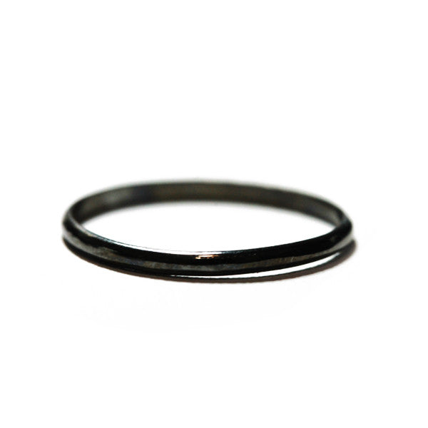 Blackened Silver Plated Thin Band Ring