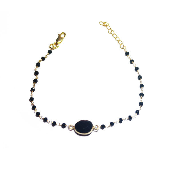 Gold-Dipped Black Onyx Beaded Stone Bracelet