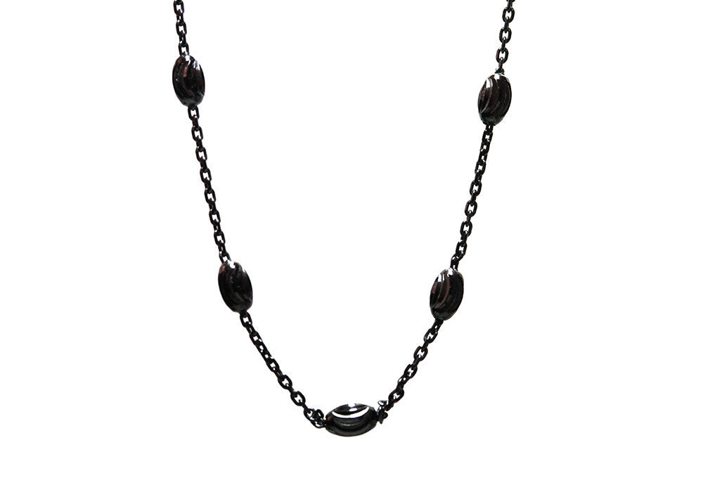 """Luna"" Blackened Silver Moon Chain Necklace"