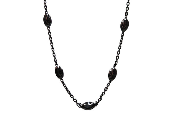 """Luna"" Blackened Silver Plated Moon Chain Necklace 16 - 20 inch"