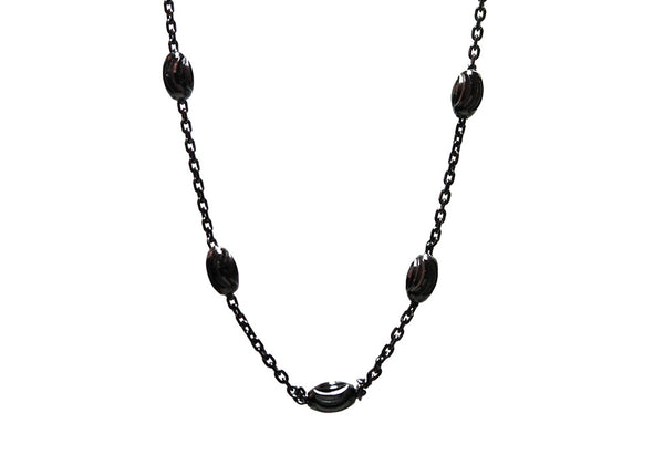 """Luna"" Blackened Silver Plated Chain Necklace 30 inch"