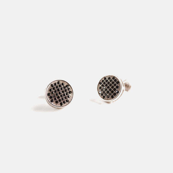 Sterling Silver Micro Pave Black Stone Coin Earrings