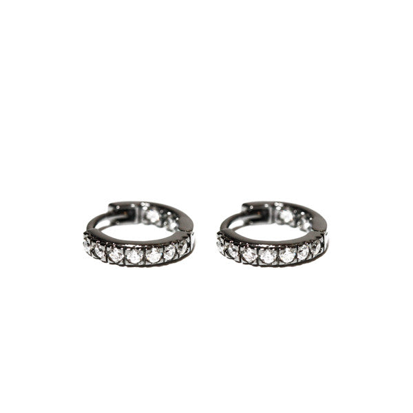 "Blackened Silver Mini Hoop ""Huggie"" Earrings with CZ Stones"