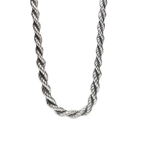 Two-Tone Sterling & Black Rope Chain Necklace
