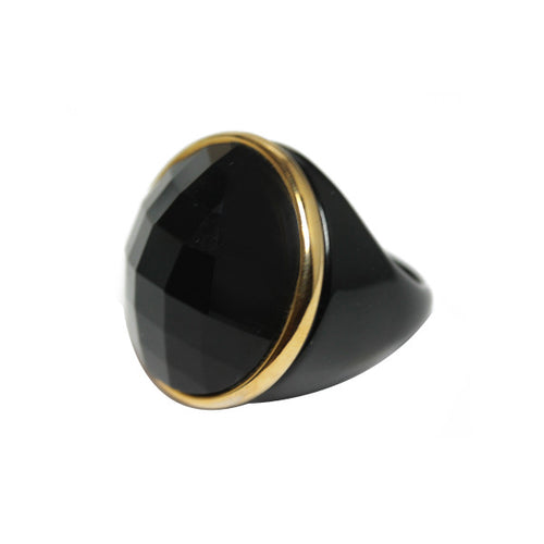 Black Slice Cocktail Ring with Gold Accent