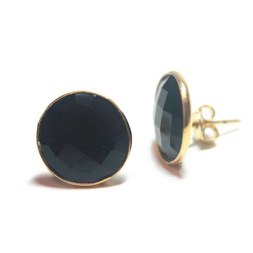 Gold-Dipped Black Onyx Earrings