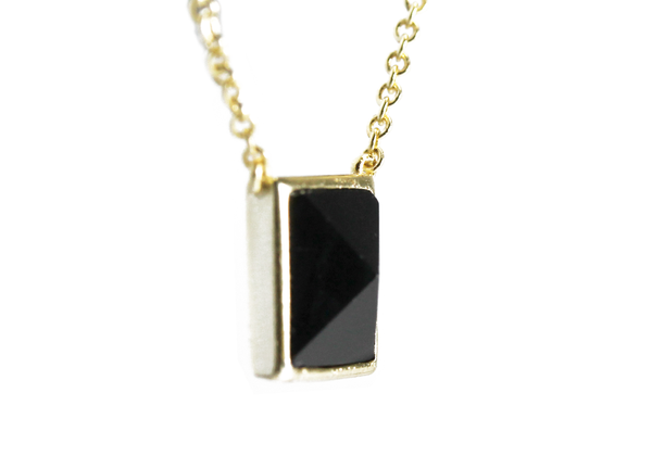 Gold-Dipped Jet Black Pyramid Stud Necklace 17 inch