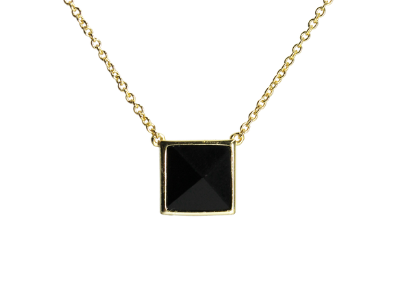 """Jet Black Stud"" Sterling Silver Square Pyramid Necklace"