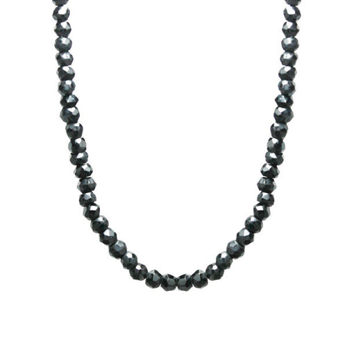 Black Spinel Beaded Necklace 30 inch