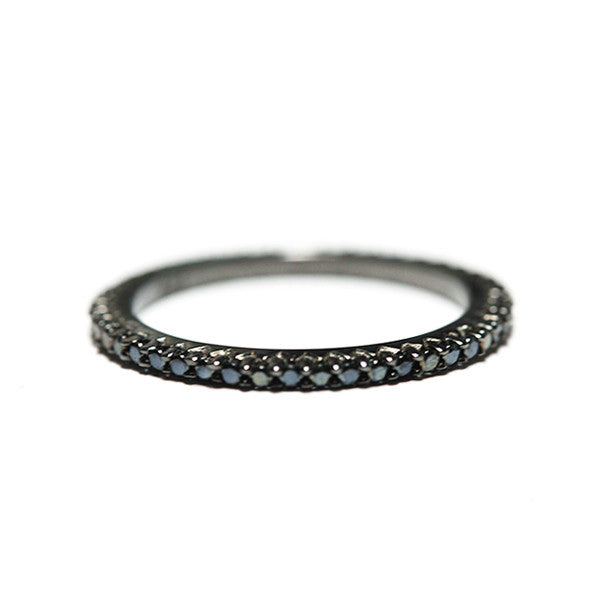 """Caviar"" Black CZ Eternity Band & Midi Ring"