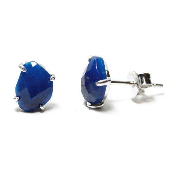 2ad6b240a303b Sterling Silver Blue Agate Stud Earrings Mini