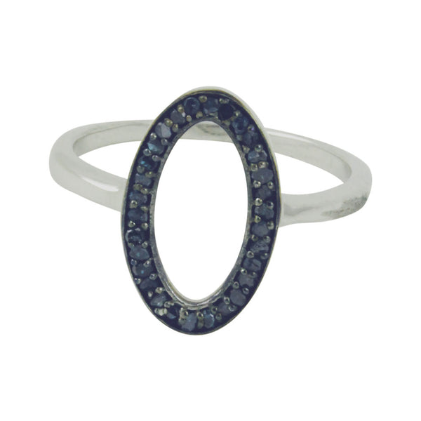 """Arrondi"" Sterling Silver Blue Diamond Ring"