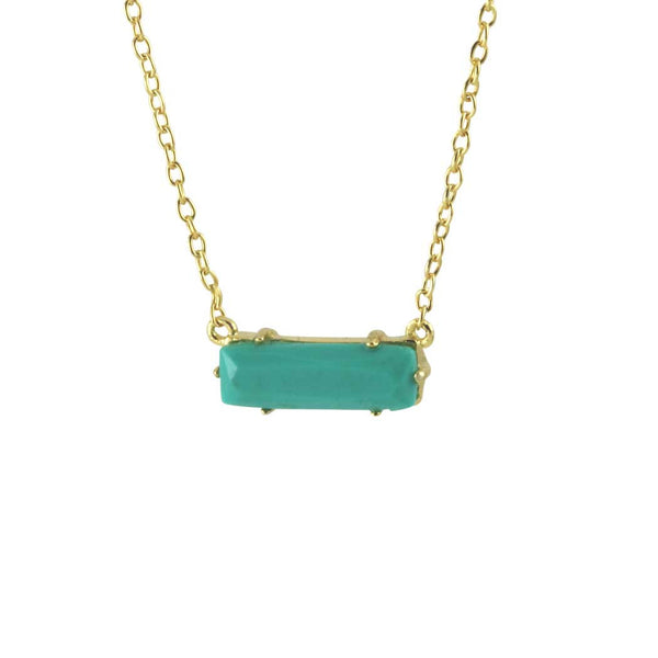 Gold-Dipped Turkoise Slice Necklace