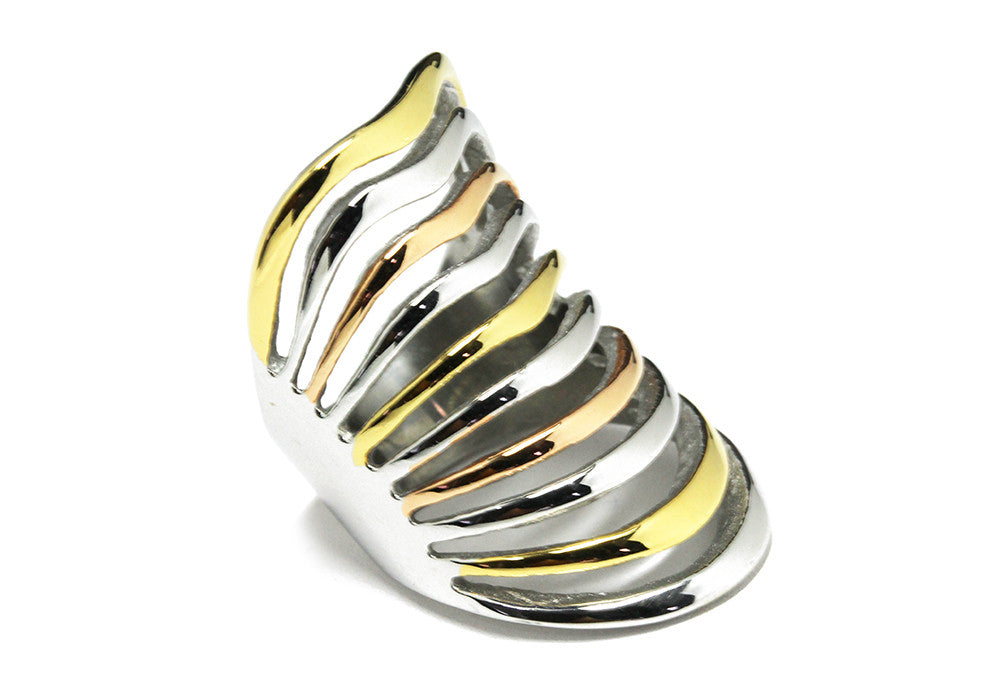 Stainess Steel Three Tone Armor Cage Knuckle Ring