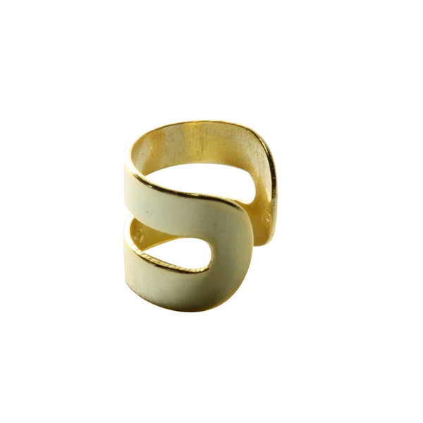 Gold-Dipped Wide Double Band Ear Cuff
