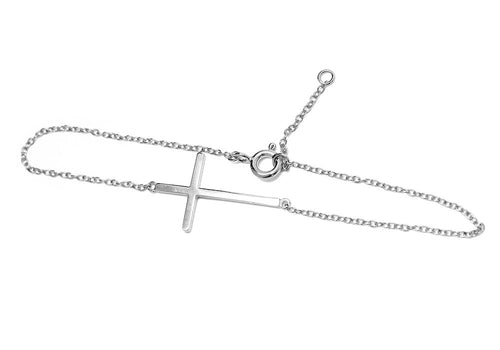 Sterling Silver Horizontal Cross Bracelet 7 inch