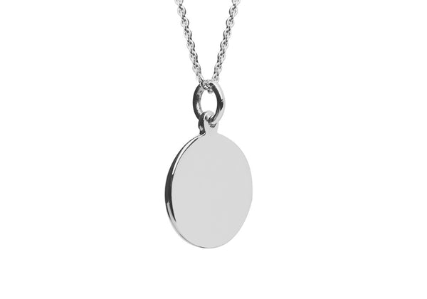Engrave Sterling Silver Round Disc Charm Necklace