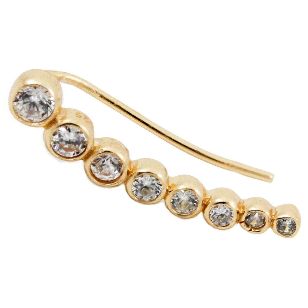 Gold-Dipped CZ Ear Pin Climber Earring Studs