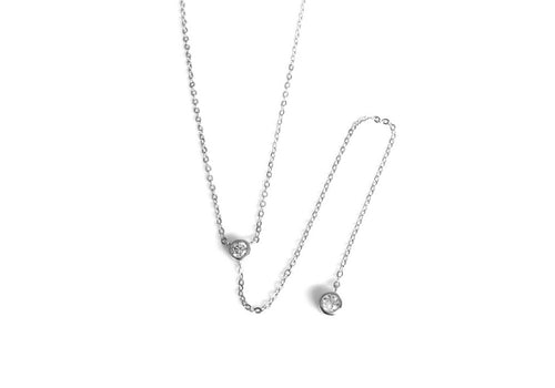 Sterling Silver Solitaire CZ Lariat Necklace