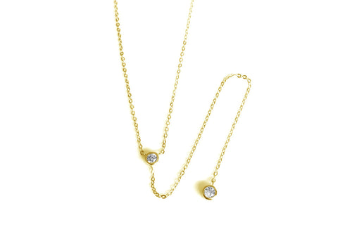 Gold-Dipped Solitaire CZ Lariat Necklace