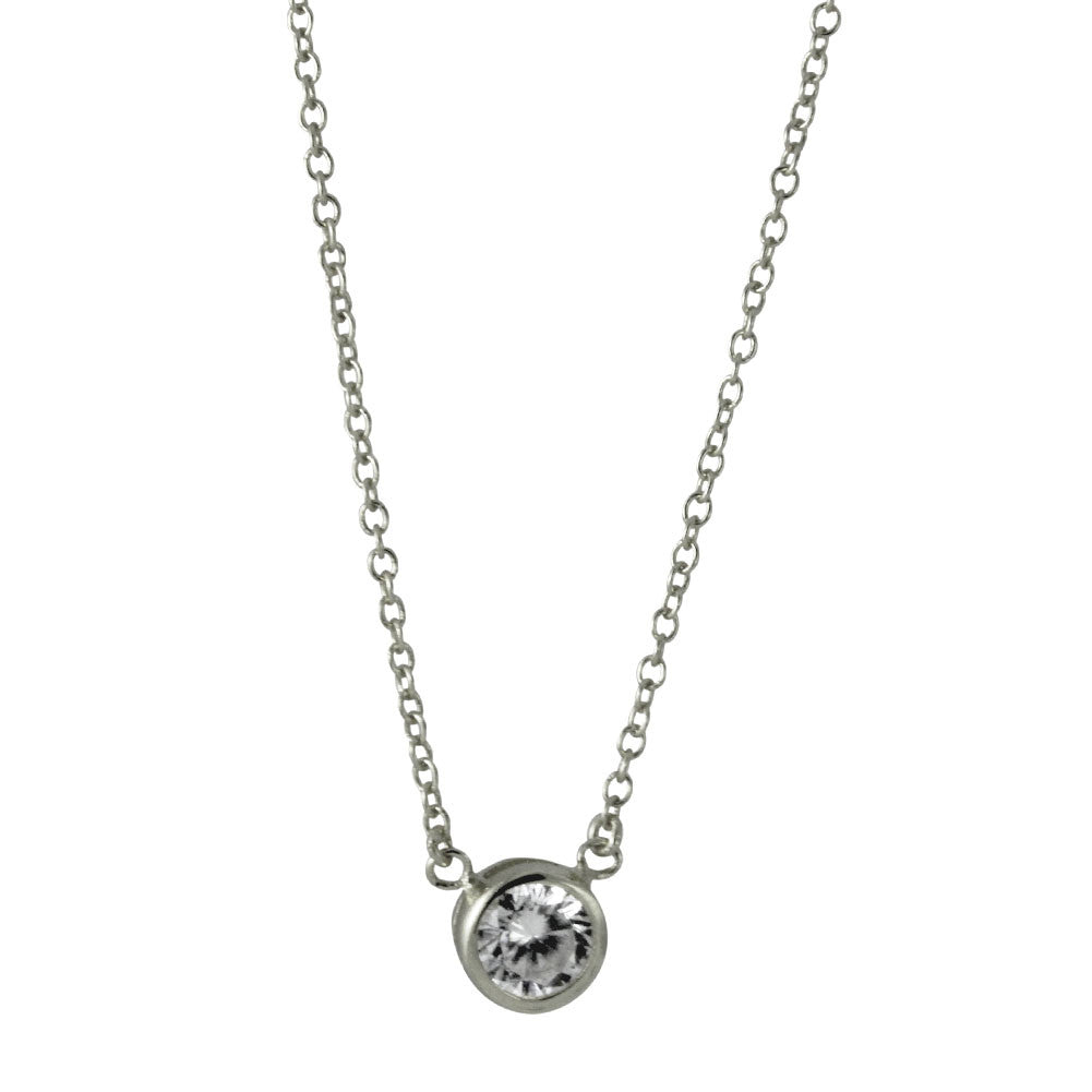 Sterling Silver Solitaire CZ Necklace