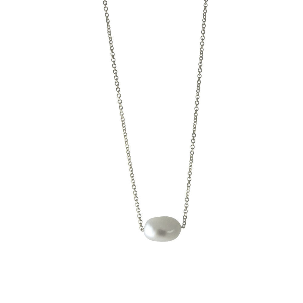 "Sterling Silver ""Baroque"" Single Pearl Necklace"