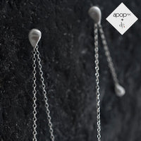Daphne P. Matte Sterling Silver Teardrop Chain Earrings