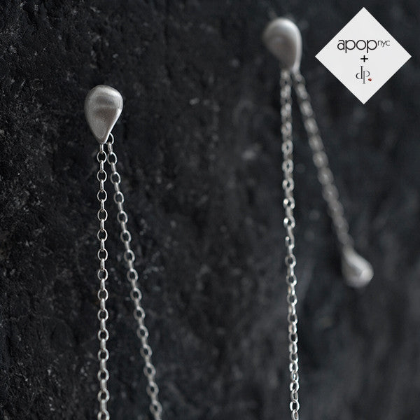Daphne P. Matte Rosy Teardrop Chain Earrings