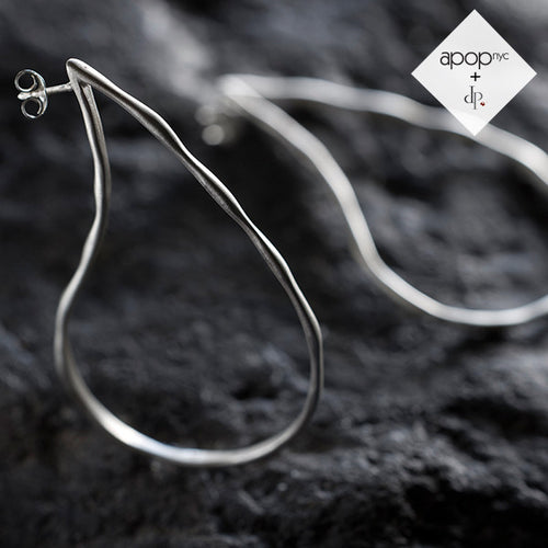 Daphne P. Hammered Matte Sterling Silver Open Teardrop Hoop Earrings