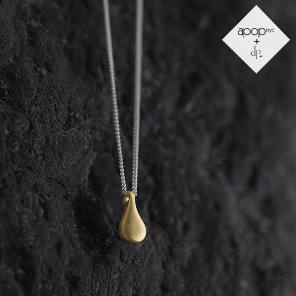 Daphne P. Matte Gold Vermeil Mini Teardrop Pendant Necklace 16 inch